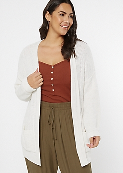 Plus Ivory Waffle Knit Two Pocket Cardigan