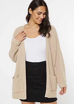 Plus Tan Waffle Knit Two Pocket Cardigan