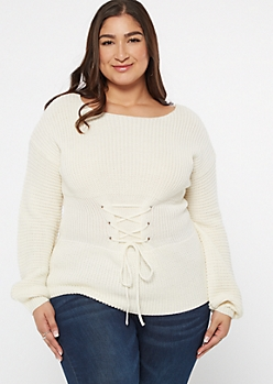 Plus Ivory Balloon Sleeve Lace Up Corset Sweater