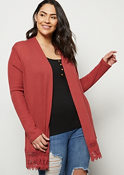 Plus Burgundy Crochet Trim Open Front Cardigan