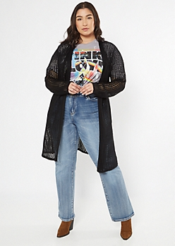 Plus Black Open Knit Dolman Cardigan