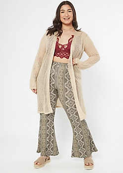 Plus Tan Open Knit Dolman Cardigan