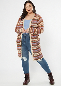 Plus Tan Striped Open Knit Dolman Cardigan