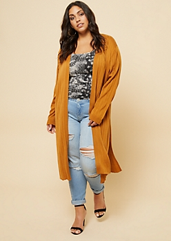 Plus Camel Ribbed Knit Open Front Maxi Cardigan