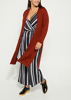 Plus Burnt Orange Ribbed Knit Open Front Maxi Cardigan
