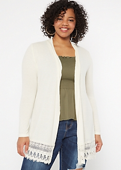 Plus Ivory Crochet Trim Cardigan