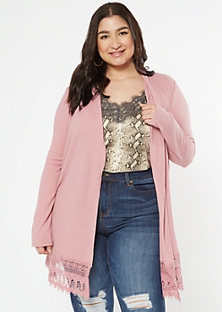 Plus Dusty Pink Crochet Trim Cardigan