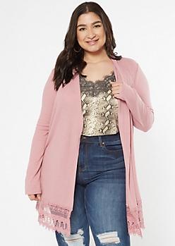 Plus Dusty Pink Crochet Duster Cardigan