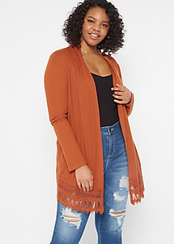 Plus Burnt Orange Crochet Trim Cardigan