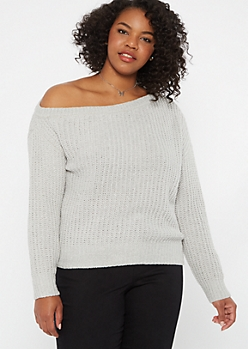 Plus Gray Chenille Slouchy Sweater