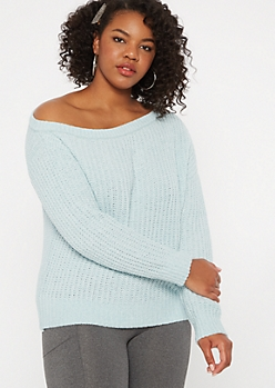 Plus Blue Chenille Slouchy Sweater