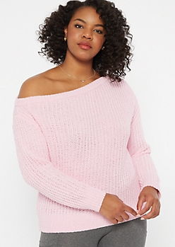 Plus Pink Chenille Slouchy Sweater