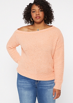Plus Coral Chenille Slouchy Sweater