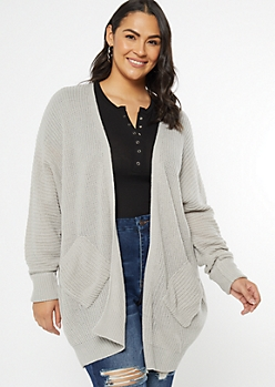Plus Gray Cocoon Pocket Cardigan