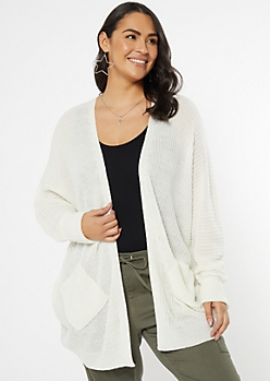 Plus Ivory Cocoon Pocket Cardigan