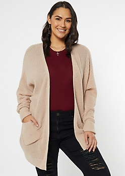 Plus Taupe Cocoon Pocket Cardigan