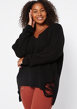 Plus Black Distressed High Low Sweater