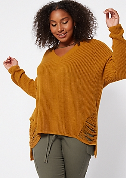 Plus Mustard Distressed High Low Sweater