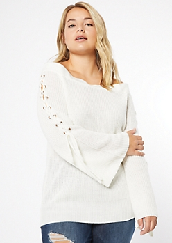 Plus Ivory Off The Shoulder Lace Up Bell Sleeve Sweater