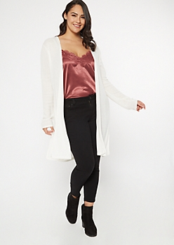 Plus Cream Ribbed Knit Side Slit Duster Cardigan