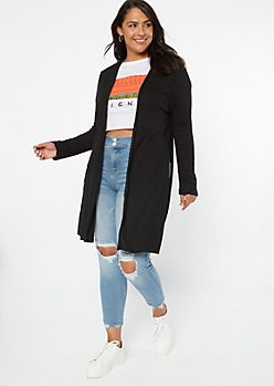 Plus Black Ribbed Knit Side Slit Long Length Cardigan