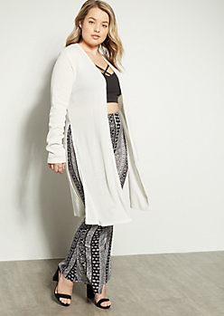 Plus Cream Ribbed Knit Side Slit Long Length Cardigan