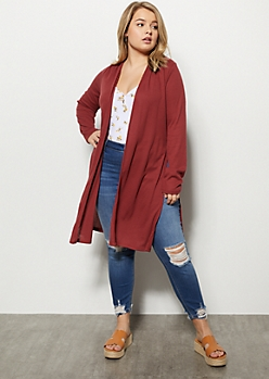 Plus Red Ribbed Knit Side Slit Long Length Cardigan