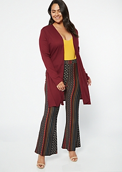 Plus Burgundy Ribbed Knit Side Slit Long Length Cardigan