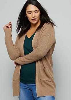 Plus Khaki Open Front Long Length Cardigan