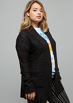 Plus Black Marled Open Front Shawl Cardigan