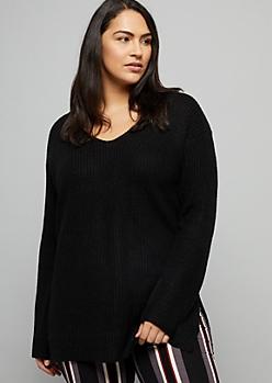 Plus Black Caged Back V Neck Sweater Tunic