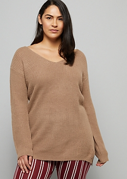 Plus Khaki Caged Back V Neck Sweater Tunic