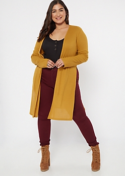 Plus Mustard Ribbed Knit Side Slit Duster Cardigan