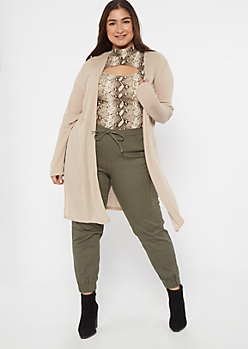 Plus Tan Ribbed Knit Side Slit Duster Cardigan
