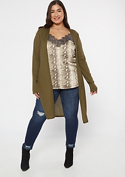 Plus Olive Ribbed Knit Side Slit Duster Cardigan
