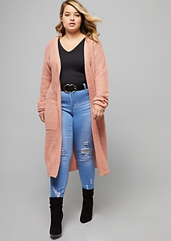 Plus Pink Waffle Knit Pocket Duster Cardigan
