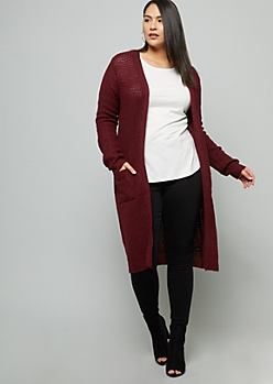Plus Burgundy Waffle Knit Pocket Duster Cardigan