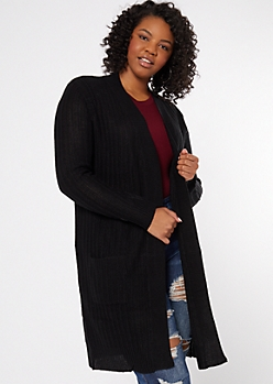 Plus Black Open Long Length Duster