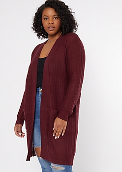 Plus Burgundy Open Long Length Duster