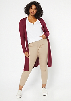 Plus Burgundy Side Slit Duster Cardigan