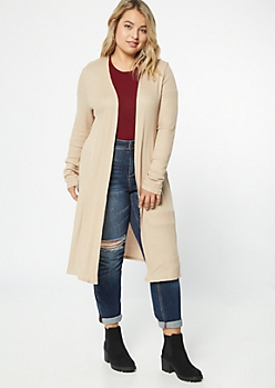 Plus Tan Side Slit Duster Cardigan