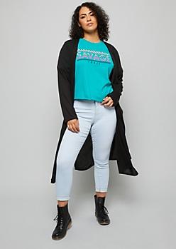 Plus Black Soft Maxi Cardigan
