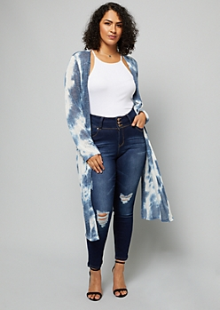 Plus Navy Tie Dye Soft Maxi Cardigan
