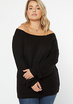 Plus Black Chunky On-Off Shoulder Sweater