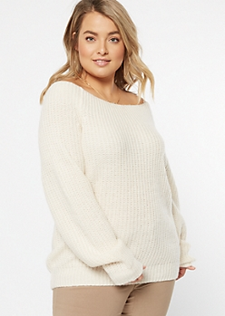 Plus Ivory Chunky On-Off Shoulder Sweater