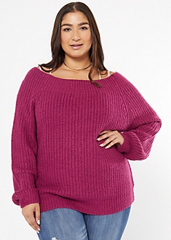 Plus Magenta Chunky On-Off Shoulder Sweater