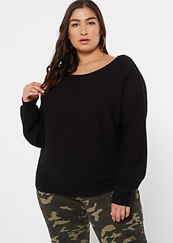 Plus Black Ribbed Knit Slouchy Sweater