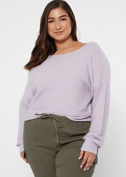 Plus Lavender Ribbed Knit Slouchy Sweater