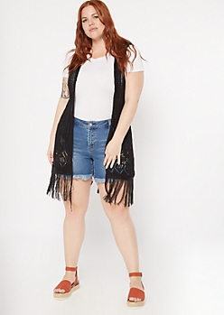 Plus Black Pointelle Knit Fringe Trim Vest