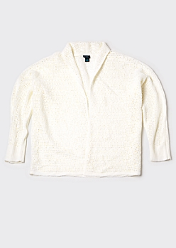 Plus White Dolman Sleeve Open Stitch Cardigan